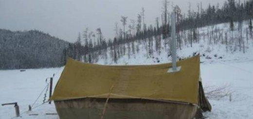 Зимняя палатка для охоты с печью