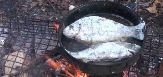 Готовка рыбы на природе