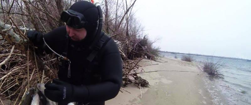 Подводная охота на Волге в марте