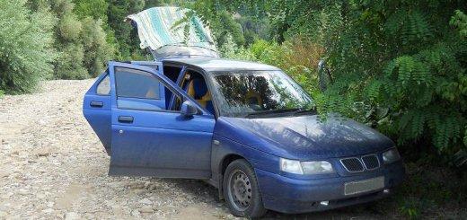 Поездка к месту отдыха на машине