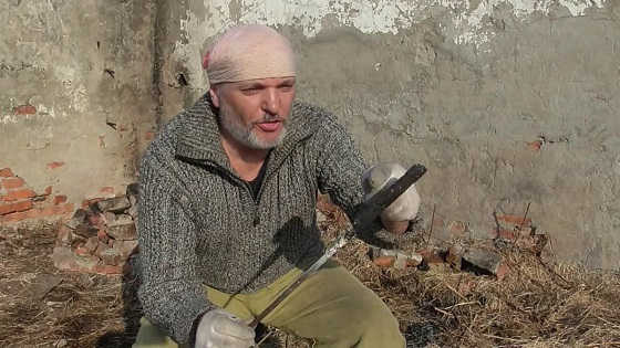 Кованый нож из опилок