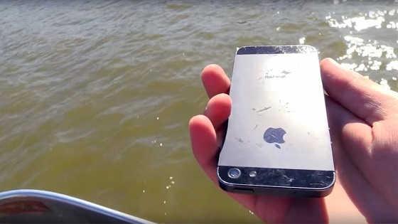 Утопил iPhone на рыбалке