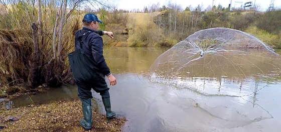 Весенняя рыбалка кастинговой сетью