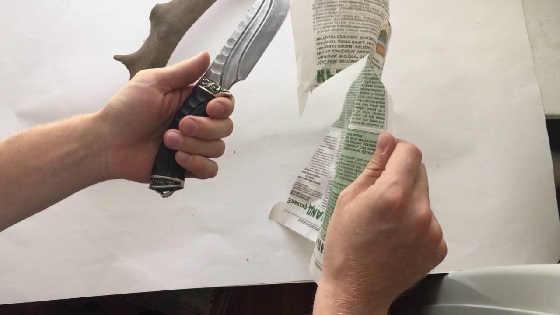 Тест ножа из дамасской стали