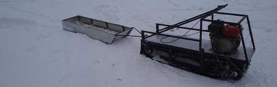 Самодельный мотобуксировщик на деревянных склизах