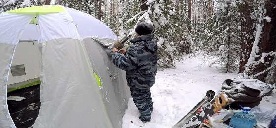 Баня в палатке зимой