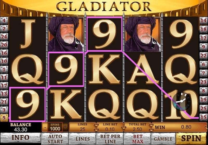 Игровой автомат Gladiator в казино Вулкан на деньги