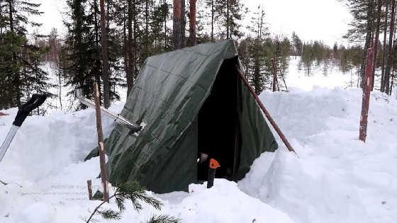 Зимняя рыбалка с ночевкой в шалаше
