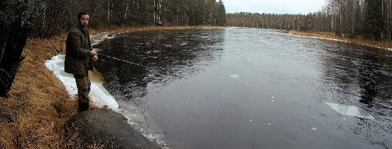 Рыбалка на слиянии двух рек в Карелии