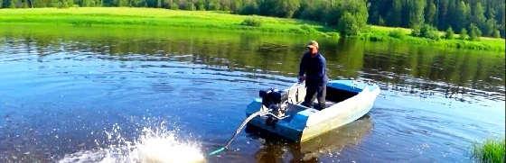 Испытания лодочного болотохода