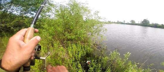 Ловля окуня на отводной поводок на спиннинг с берега