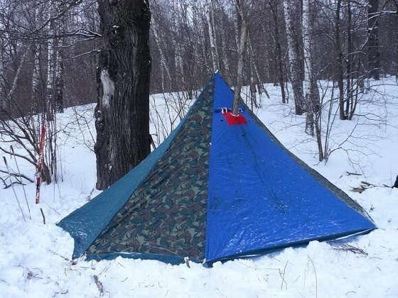 Ночёвка в зимней палатке с печкой