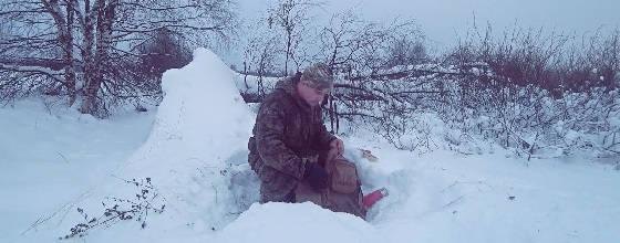 Охота в январе на лыжах по пухляку