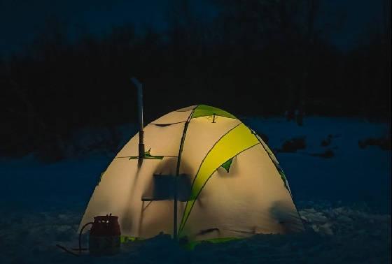 Зимняя рыбалка с ночёвкой в палатке